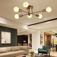 Pós moderno Quarto luz de teto Simples Nordic lustre sala de estar sala de Jantar lâmpada Personalidade Criativa da pelota De Vidro De Ouro