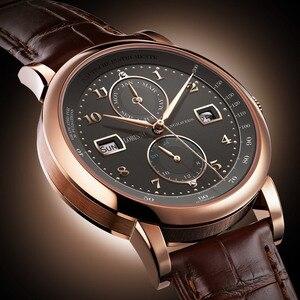 Image 4 - LOBINNI גברים שעון שוויץ יוקרה מותג אוטומטי מכאני גברים של Wirstwatches ספיר עור Tracymeter relogio L16001 3
