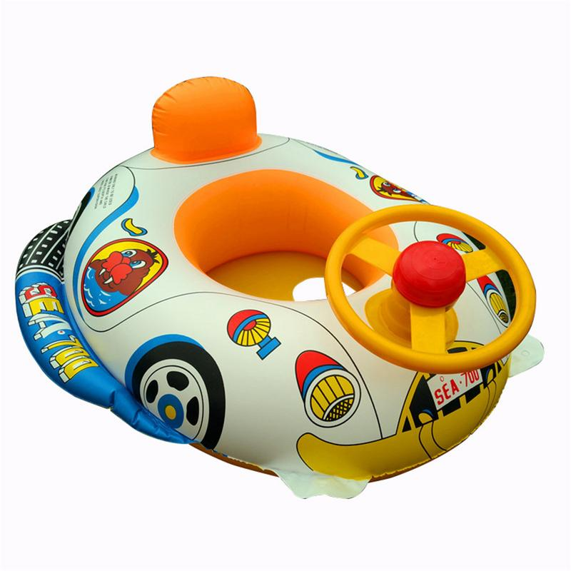 Children's Swimming Ring Cartoon Car Boat Inflatable Thickening With Direction Seat Boat Float Motorboat Harmless PVC Plastic To