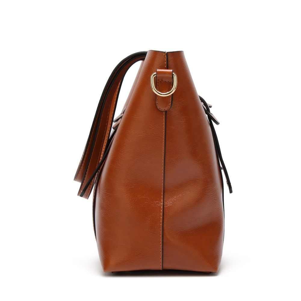 Bolsos de hombro de diseño de lujo para mujeres bolsos de cuero de gran capacidad bolsos de cuero aceitado Crossbody para mujeres bolso de mano Bolsas 2019 C834