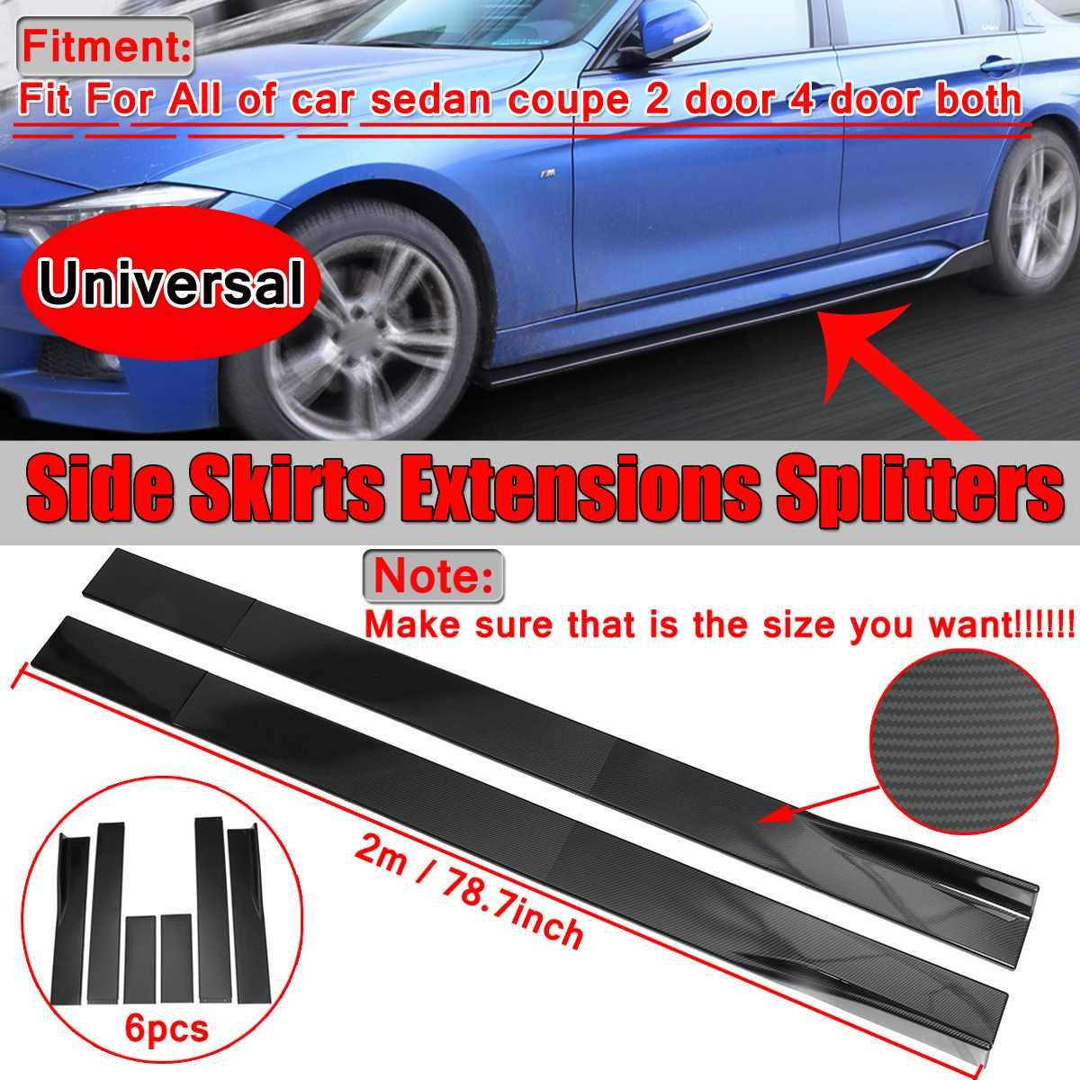 2x fibre de carbone Look/noir voiture côté jupe Extension Splitters corps lèvre pour BMW pour Benz pour Honda côté jupe Winglet séparateur