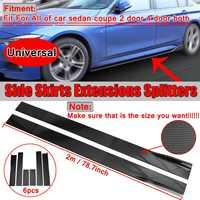6x Carbon Fiber Look /Black Car Side Skirt Extension Splitters Body Lip For BMW For Benz For Honda Side Skirt Winglet Splitter