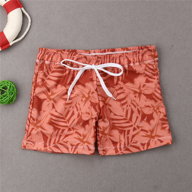 Family Matching Swimwear Father Son Outfit Swimsuit Men Boys Leaves Print Board Beachwear Surfing Bathing Suit Swimming Summer