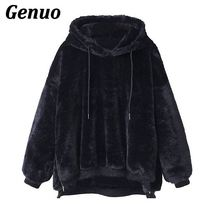 Genuo Faux Fur Fluffy Hoodies Autumn Winter Casual Women Sweatshirts Hooded Long Sleeve Womens Loose Drawstring Pullover and Top цены онлайн