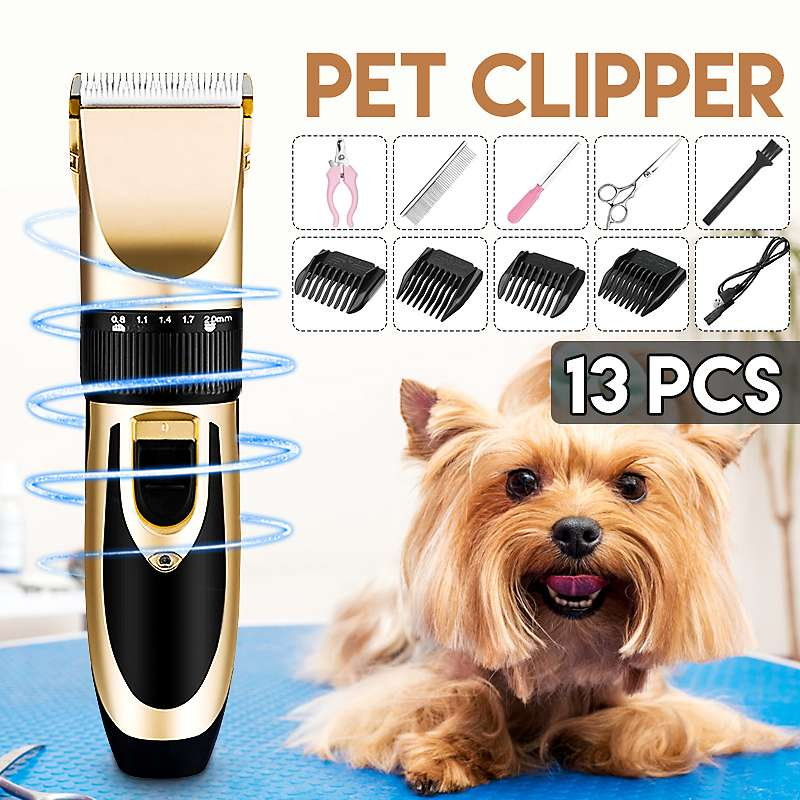 Home Professional Pet Dog Hair Trimmer Rechargeable Animal Grooming Clippers Cat Cutter Machine Shaver Electric Scissor Clipper