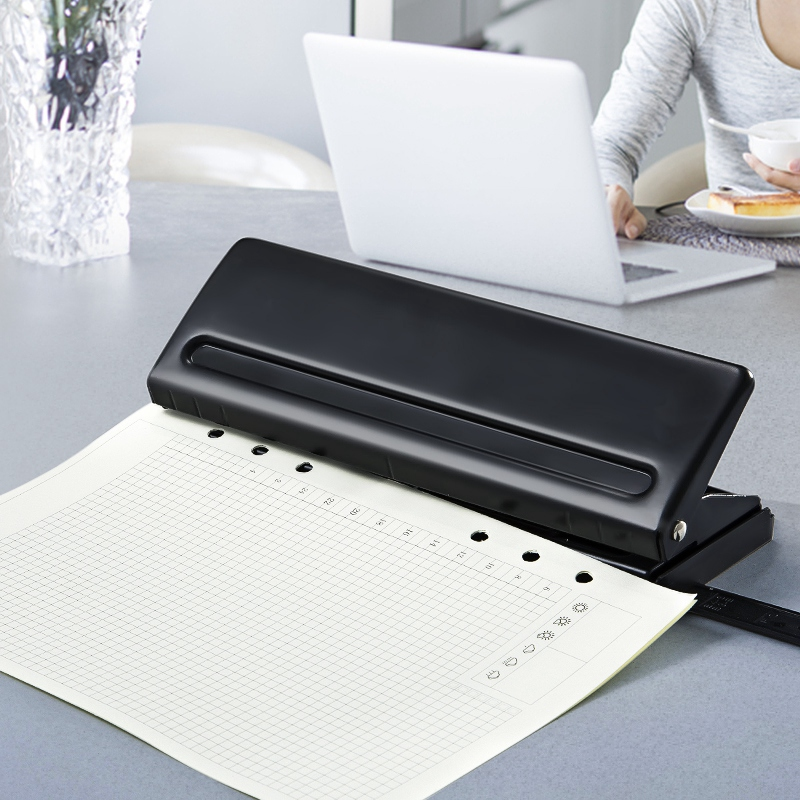 Image 3 - 6 Holes Paper Puncher, Adjustable Stainless Steel Desktop Hole Punch, 6 Sheets Capacities-in Hole Punch from Office & School Supplies