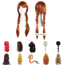 Girls Princess Dress up Headwear Cosplay Rapunzel Braid Mermaid Snow White Belle Wig Teenager Children Halloween Synthetic Hair