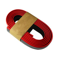 2.5M Universal Black/Red Car Front bumper skirts Rubber Carbon Fiber Strips Protection Bumper Stickers Car styling