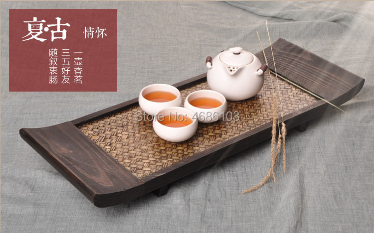 Southeast Asian Style Thai Bamboo-Woven rectangular Japanese-style tea table Kung Fu tray solid wood dry