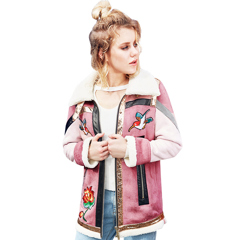 2018 Veste Spliced Y604 Marque Pink Zipper Épais Femelle Automne Flocage Pardessus Oiseau Survêtement Fleur Parkas Femmes D'hiver Broderie p8rq7p