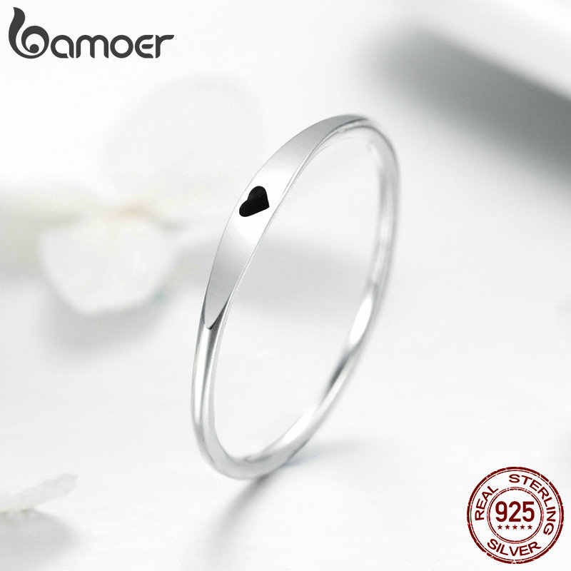 BAMOER 925 เงินสเตอร์ลิงรอบวงกลม Pure Finger แหวนหัวใจแกะสลักแหวนสำหรับเครื่องประดับหมั้นผู้หญิงเครื่องประดับ SCR468