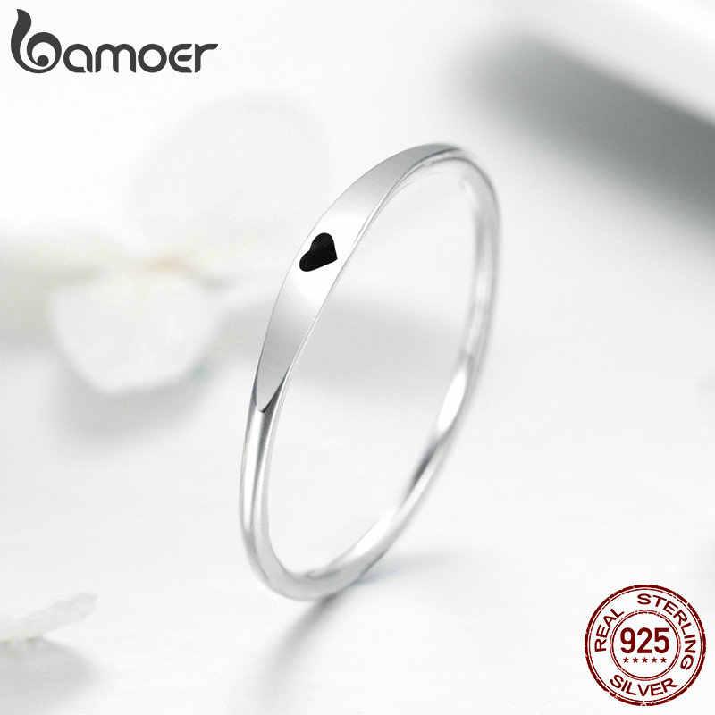 BAMOER 925 en argent Sterling rond cercle pur bague Simple coeur graver des anneaux pour les femmes de mariage fiançailles bijoux SCR468