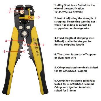Yalku מלחץ כבל חותך אוטומטי חוט חשפנית פלייר רב תכליתי חוט חשפנית צבת חיתוך חוט מלחץ