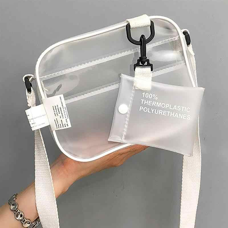 Causual PVC Transparent Klar Frau Umhängetaschen Schulter Tasche Handtasche Gelee Kleine Telefon Taschen mit Karte Halter Breite Bügel Klappe