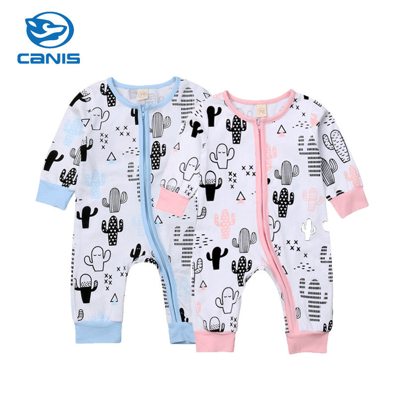 Bodysuits & One-pieces 2018 Newborn Baby Boys Girls Rompers Cartoon Print Zipper Long Sleeve Infant Baby Romper Jumpsuit Outfits Autumn Winter Clothing