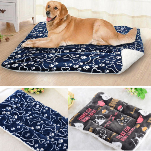 Fleece Pet Warm Bed Cushion Mat Pad Dog Cat Kennel Crate Cozy Soft Blankets S-XL
