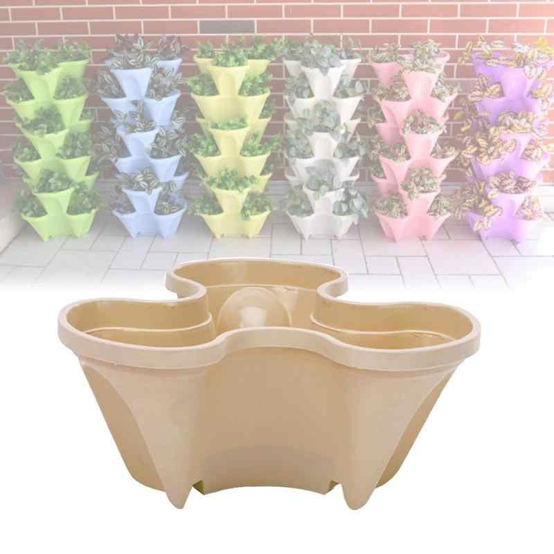 ガーデン植木鉢装飾スタッカブルプランター植物イチゴハーブ花盆栽ポット家の装飾屋外プラスチック容器