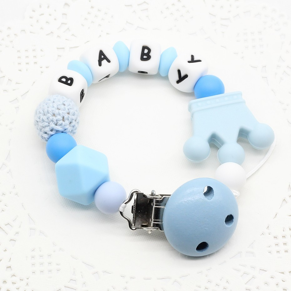 Silicone Personalised Name  Pacifier Clips Pacifier Chain With Dummy Clip Baby Shower Gift Free BPA Pacifier holder  Baby  Toy