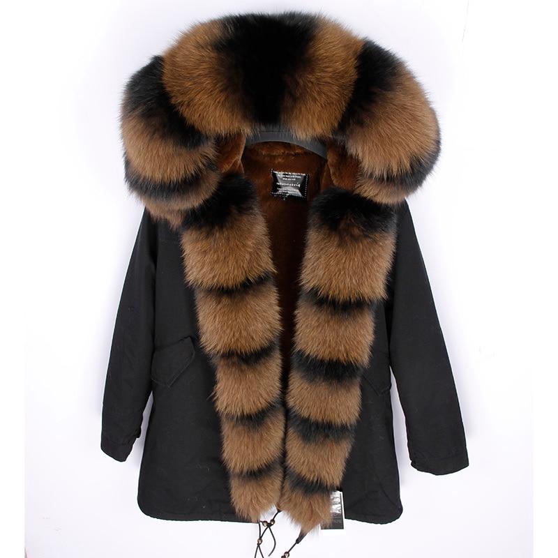 Lâche Longue Luxe Maomaokong Col Grand 2 Renard Parka Streetwear Fourrure Doublure Réel D'hiver 1 Naturel 4 5 Faux De Veste 3 Femmes 7O7wafq