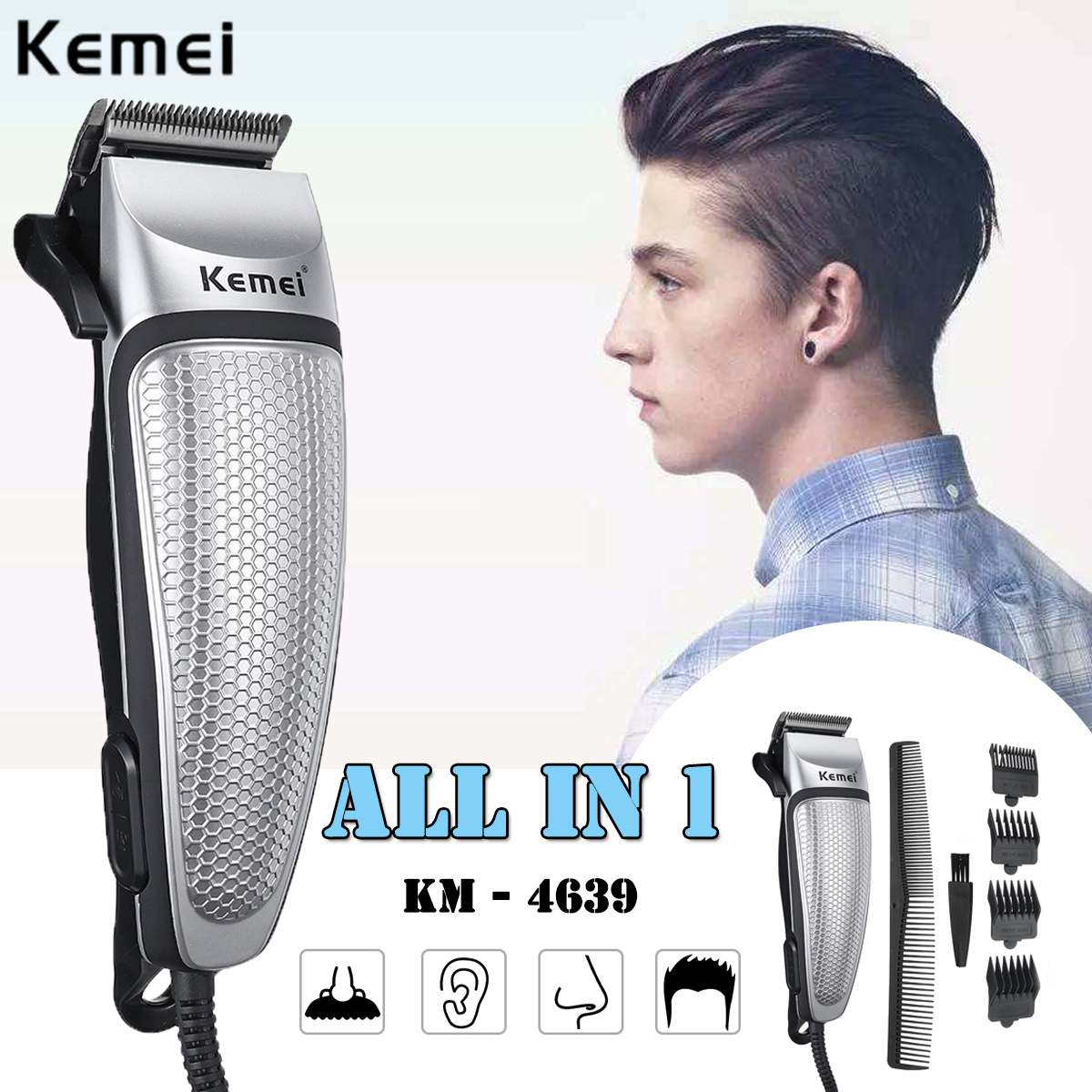 Kemei 9 In 1 Electric Hair Clipper Plug-in Professional Hair Trimmer For Men Styling Tools Hair Shaving Machine Haircut Machine