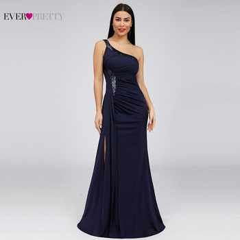 Sequined Evening Dresses Ever Pretty EP07869NB One Shoulder Mermaid Sparkle Sexy High Split Dubai Elegant Formal Long Dresses - DISCOUNT ITEM  50% OFF All Category
