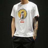 Men Summer Hip Hop Monster Japanese Ukiyo Cat Printed T Shirts Men Streetwear Harajuku Short Sleeve Tees Tshirts 5XL Plus Size
