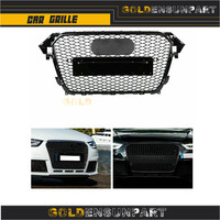 Car Auto Front Sport Hex Mesh Honeycomb Hood Grill Gloss Black 2013 2014 2015 2016 for Audi A4/S4 B8.5 for RS4 Style