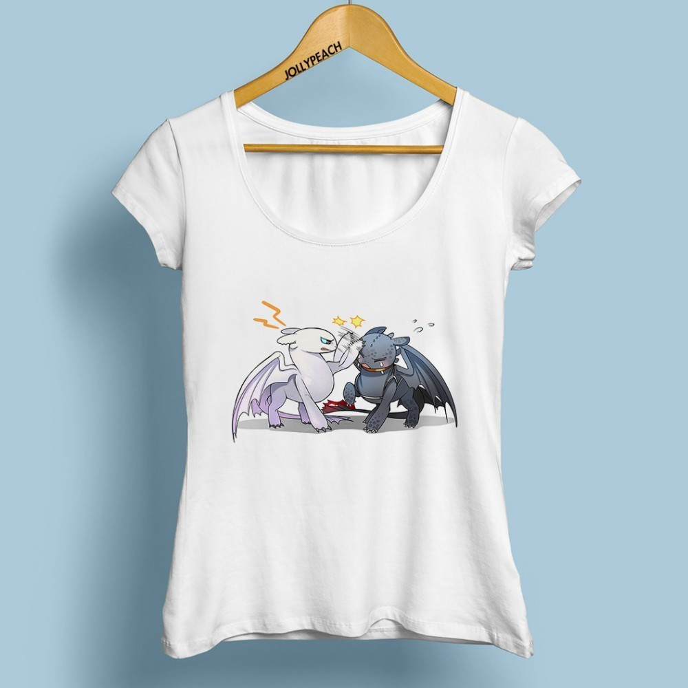 Toothless And Light Fury Funny Anime Tshirt Women 2019 Summer New White Casual T Shirt Femme How To Train Your Dragon T-shirts
