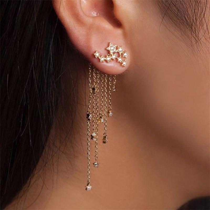 Pendant Long-Earrings Fashion Women Tassel Crystal Star 1-Pair Streamlined Girl Gold/silver-Color