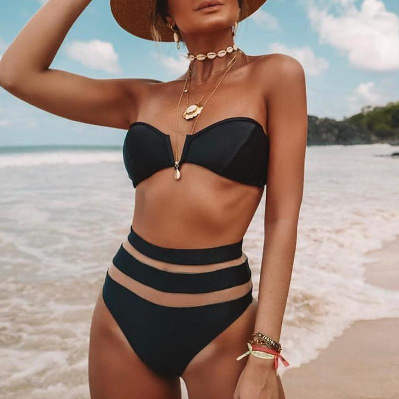 Peachtan High waist bikinis 2019 mujer Sexy mesh swimsuit women bathers biquini Push up swimsuit female V-neck beach wear summer