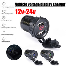 Car Motorcycle DC 12V/24V Dual Port Car USB Charger Voltmeter 4.2A Power Outlet For Ipad Iphone Car Boat Mobile Phones Led Light(China)