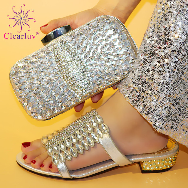 Silver 2019 Summer Women Italian Shoes with Matching Bag Set for Party Wedding Shoes and Bag Set High Heels Shoes and Bag Se