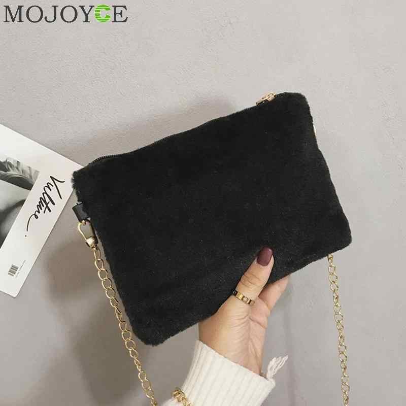 Winter New Plush Chain Sling Crossbody Bags for Women Fashion Lady Satchel Shoulder  Handbag Female Messenger ff18645355afc