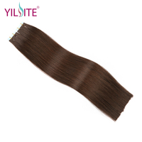 Yilite 14 16 Dark Brown #2 Double Sided Double Drawn European Beauty Remy Tape In Human Hair Extensions Skin Weft 20pcs/40g