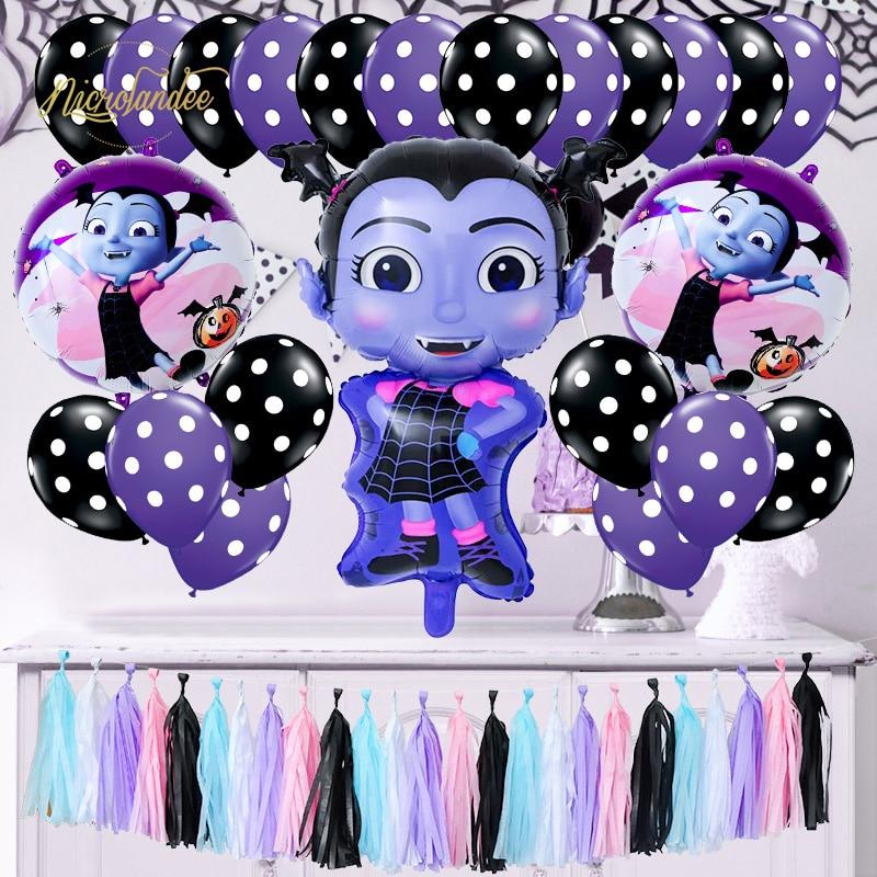 NICROLANDEE 48 pièces ensemble Vampirin Halloween bricolage fête décoration anniversaire décor papier tissu gland ballons balle pompon ensemble