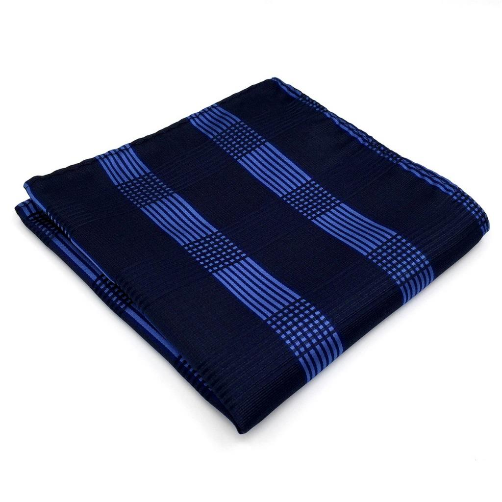 BH22 Brand New Mens Pocket Square Navy Checked Silk Business Fashion Classic Handkerchief 12.6