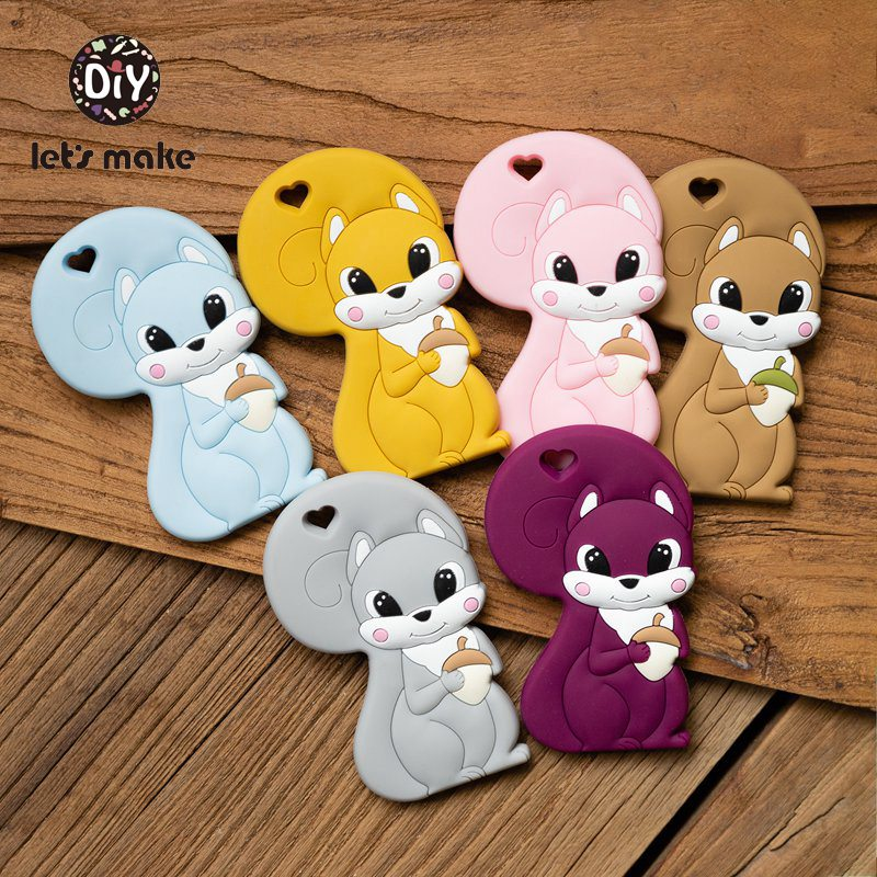 Let's Make Silicone Animals Teethers Squirrel Shape Food Grade Cartoon Silicone Teething Cute Squirrel Silicone Patent 5pc /lot