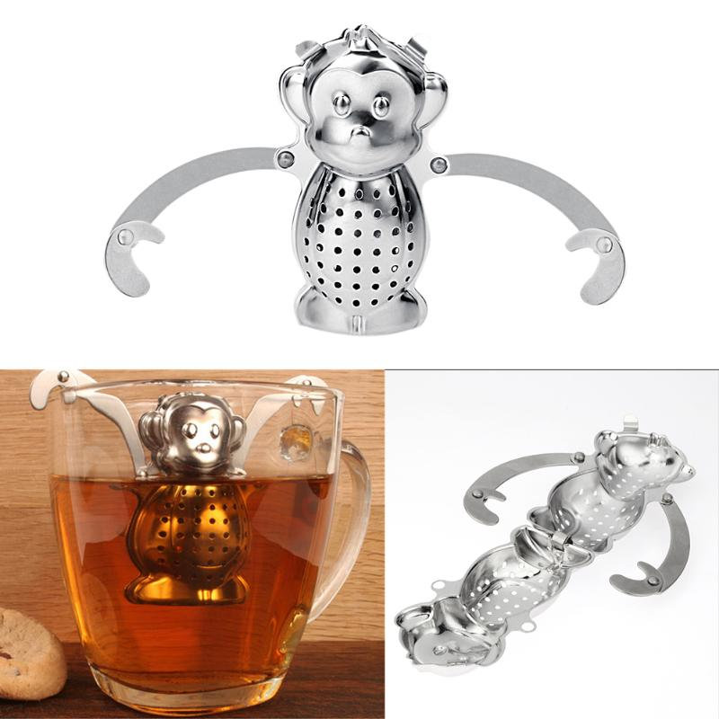 1Pc Strainless Steel Tea Infuser Monkey Pattern Loose Leaf Tea Strainer Spice Herbal Filter Tray Drinking Tea Tools