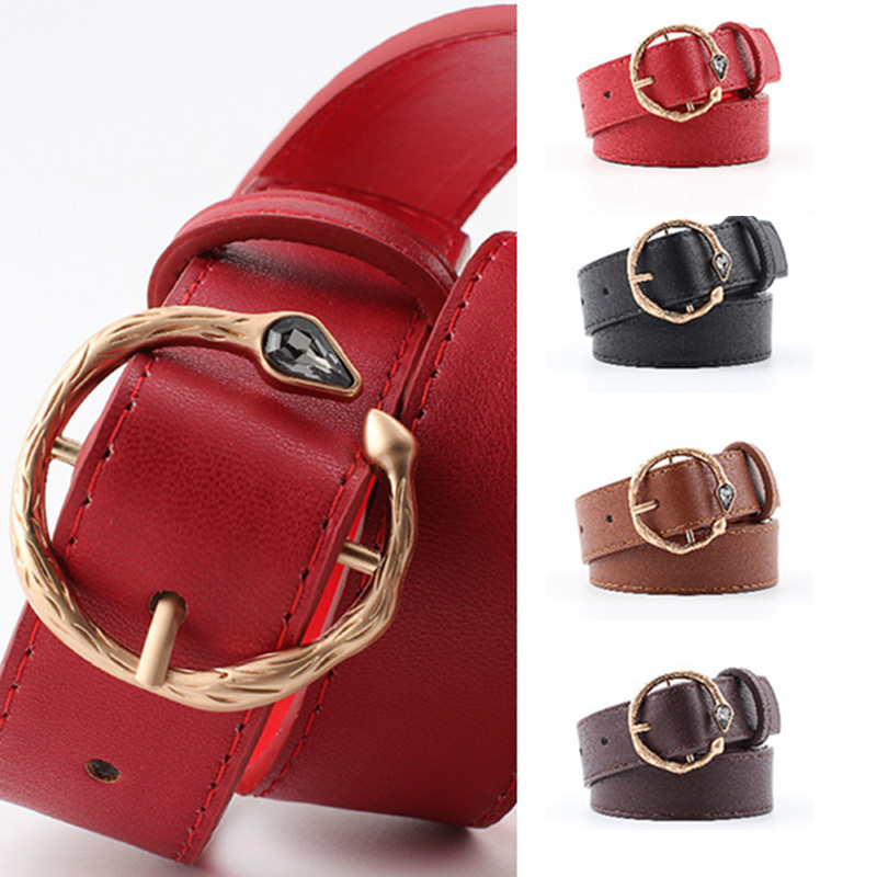 Personality Belts Women Fashion 2018 Female Faux Leather Gem Circle Snake Pin Buckle Waist Belt for Dress Jeans