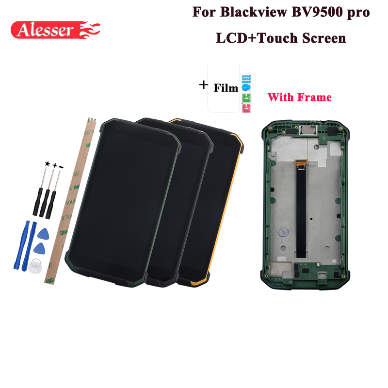 Alesser For Blackview BV9500 Pro LCD Display and Touch Screen 5 7 With Frame Tools Film