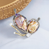 Free shipping baroque natural pearl brooch gold and silver branch zircon corsage