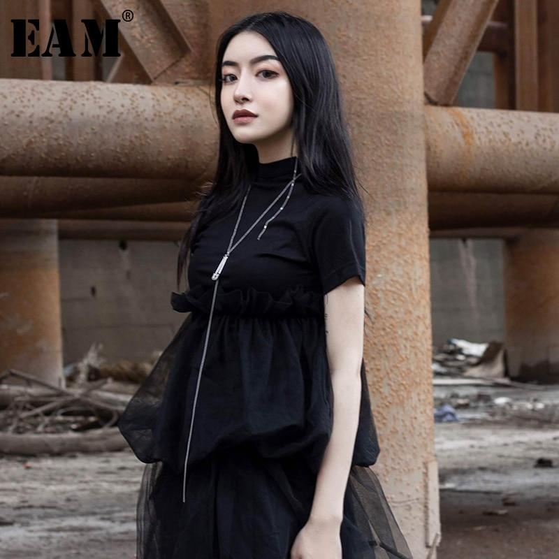 [EAM] 2020 New Spring Summer Round Neck Short Sleeve Black Mesh Ruffles Split Joint Temperament T-shirt Women Fashion JU441