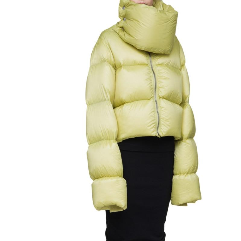 European Style 2019 Winter Jacket Women Short Collar High-collar Thicker Ultra-Long Sleeve Snow Wear White Duck   Down     Coat   A969