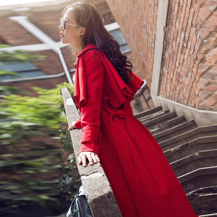 Lanterne vent Manches Ceinture À Tranchée De Rouge Retour Femmes Manteaux  Femelle Coupe Longues Large Split TqRnHxHf 61702e476de
