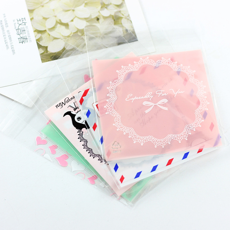 10PCS  Lovely Cute Opp Bag 10*12cm Self-Stick Earring Necklace Transparent Packaging Gift Bags Bracelets Jewelry Package