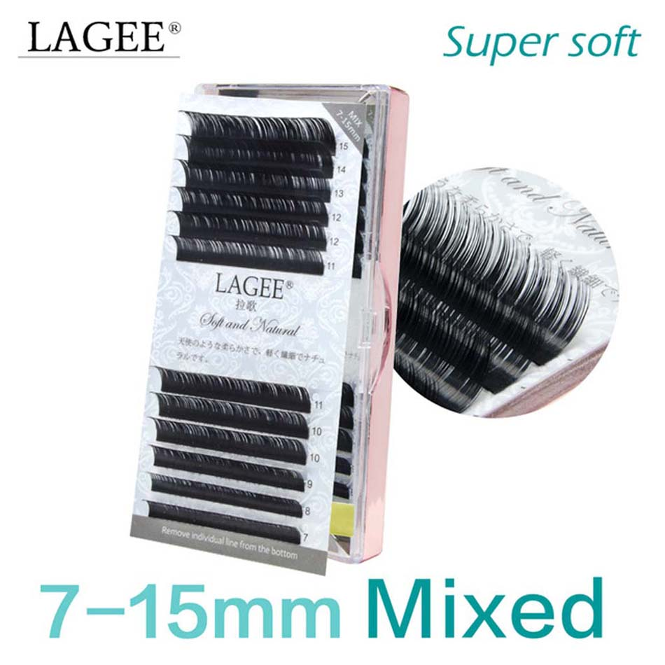 LAGEE  professional 7~15mm mix glossy black eyelash mink extension vendor supplies premium natural false eye lashes cilios