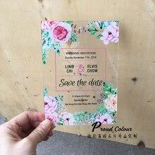 PROUD 10 шт. в партии пользовательские прозрачные акриловые карты мода стекло неделя свадебные приглашения Красочные Печать Цветок