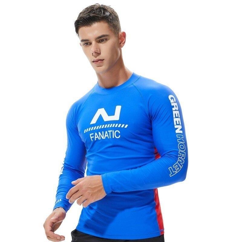 Proteção UV Homens Maiô De Manga Longa Mens Nadar Rash Guard Rashguard Lycra de Surf Secagem rápida Condução Camiseta Para A Natação roupas
