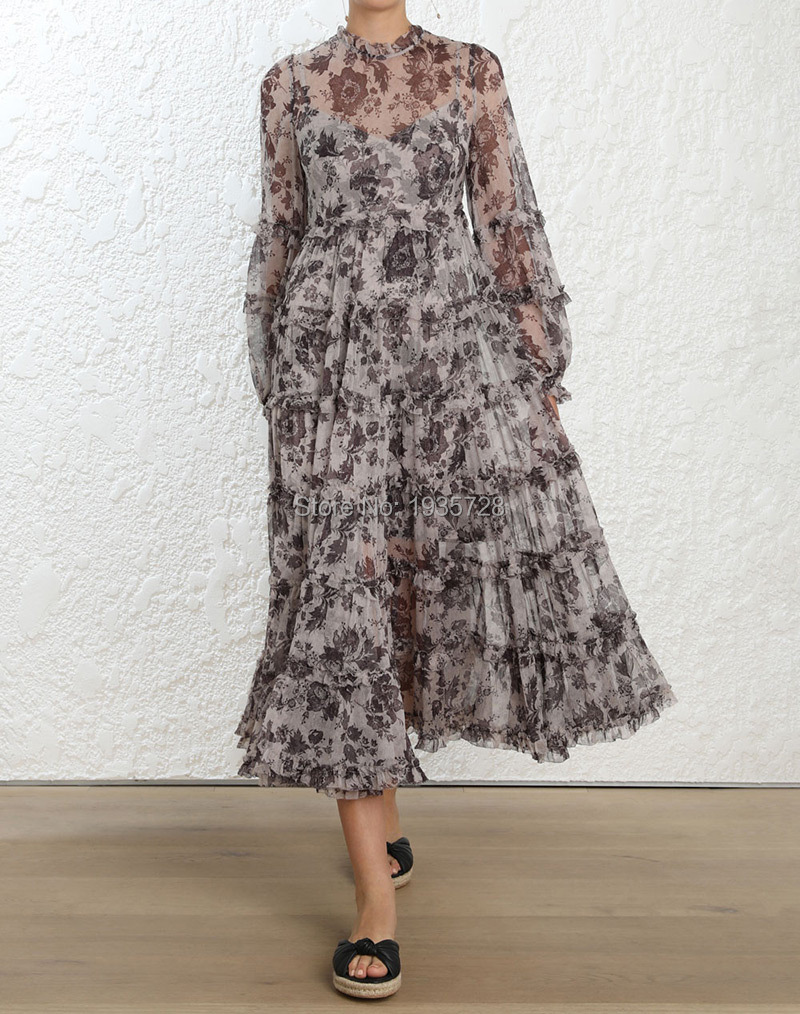 Top Quality Silk 100% Aged Batik Print Juno Tiered Midi Long Dress With High Neck & Tiered & Ruffled Detail & Matching With Slip silk