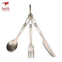 Keith Titanium Knife Fork Spoon Portable Outdoor Cutlery Set Lightweight Durable Anti corrosion Pure Titanium Knife Fork Spoon